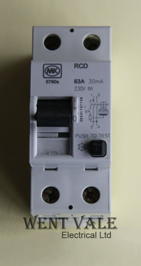 MK Sentry - 5760s - 63a 30mA Double Pole RCD Un-used